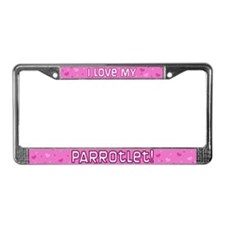 Pink Polka Dot Parrotlet License Plate Frame
