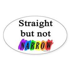 Straight but not narrow rainb Oval Decal