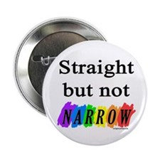 Straight but not narrow rainb Button