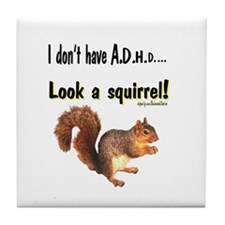 ADHD Squirrel Tile Coaster