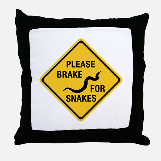 Please Brake For Snakes, Canada Throw Pillow