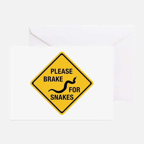 Please Brake For Snakes, Canada Greeting Cards (Pk