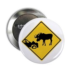 """Beware of Moose, Canada 2.25"""" Button (10 pack)"""