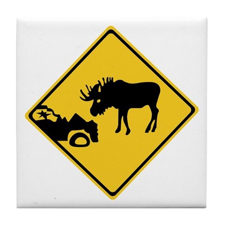Beware of Moose, Canada Tile Coaster