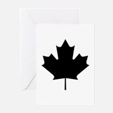 Black Maple Leaf Greeting Cards (Pk of 10)
