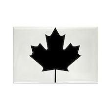 Black Maple Leaf Rectangle Magnet