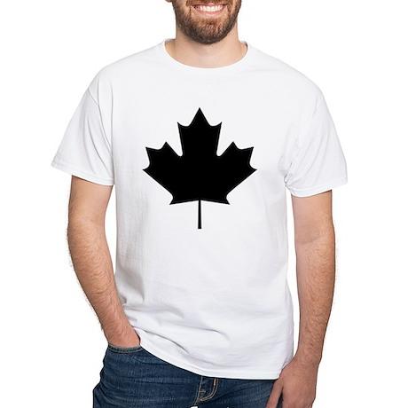Black Maple Leaf White T-Shirt