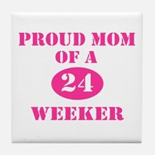 Proud Mom 24 Weeker Tile Coaster