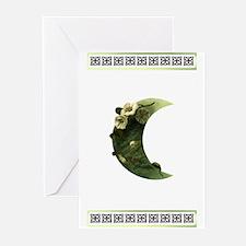 Druid Crescent Moon Flower Grt Cards (Pk of 10)
