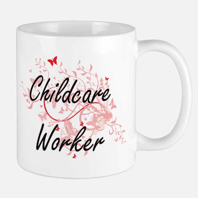 Childcare Worker Artistic Job Design with But Mugs