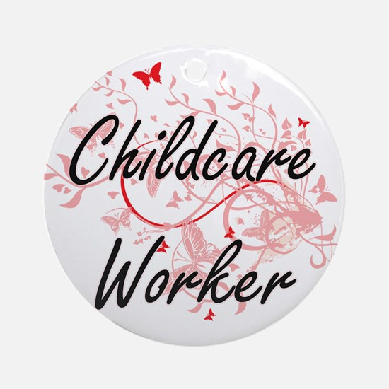Childcare Worker Artistic Job Desig Round Ornament