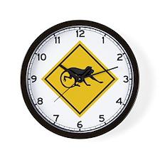 Warning Long-tailed Macaques, Malaysia Wall Clock