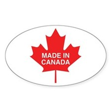 Made in Canada Maple Leaf Oval Bumper Stickers