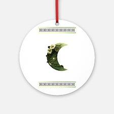 Druid Crescent Moon Flower Ornament (Round)