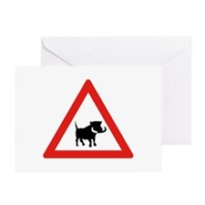 Beware of Warthogs, South Africa Greeting Cards (