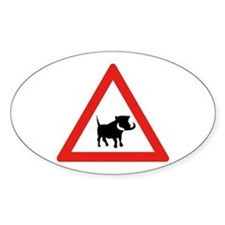 Beware of Warthogs, South Africa Oval Decal