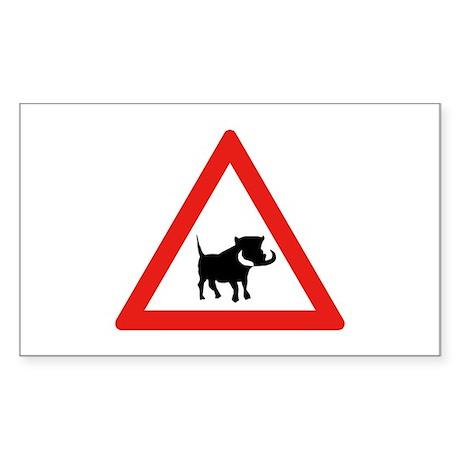 Beware of Warthogs, South Africa Sticker (Rectang