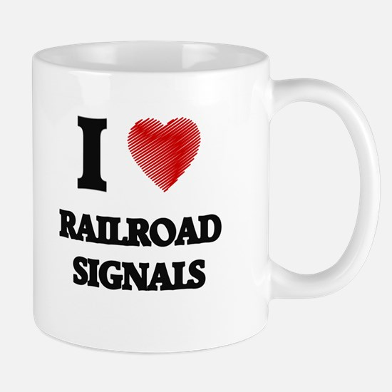 I Love Railroad Signals Mugs