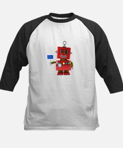 Red toy robot with hello sign Baseball Jersey