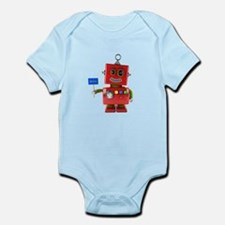 Red toy robot with hello sign Body Suit
