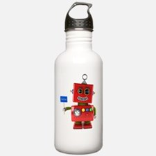 Red toy robot with hel Water Bottle