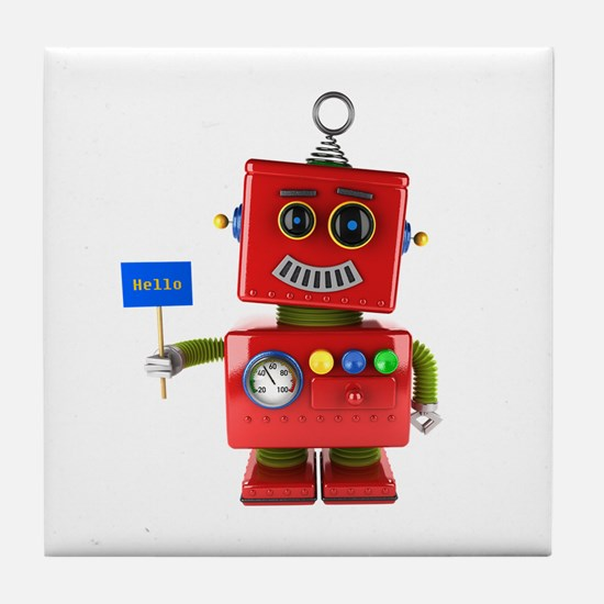 Red toy robot with hello sign Tile Coaster