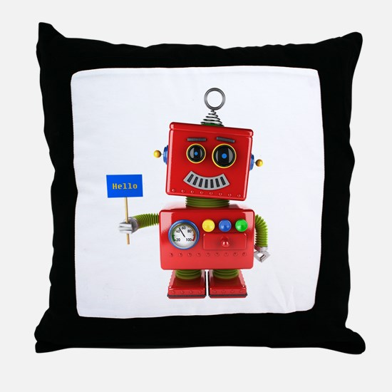 Red toy robot with hello sign Throw Pillow