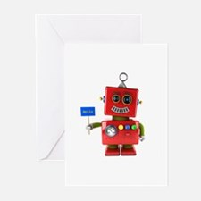 Red toy robot with hello sign Greeting Cards