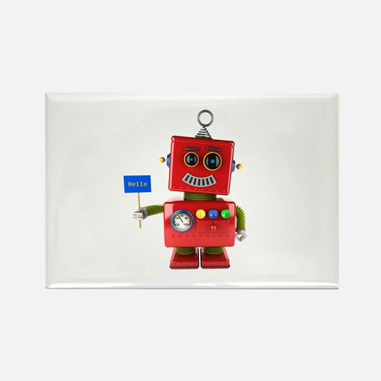 Red toy robot with hello sign Magnets