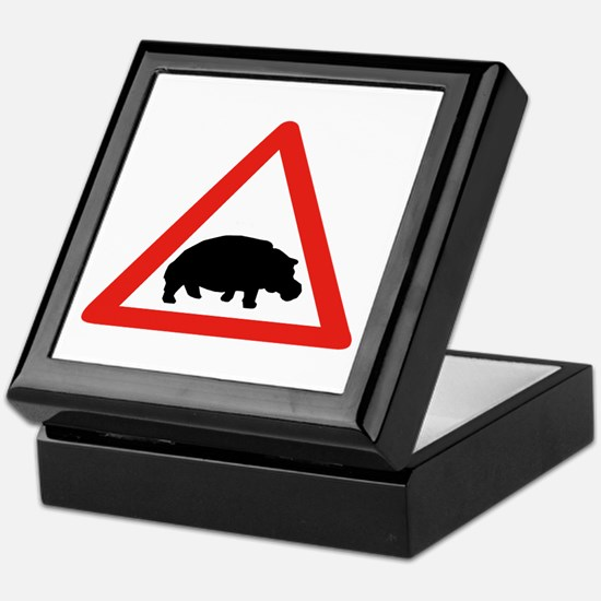 Beware of Hippopotamuses, South Africa Tile Box