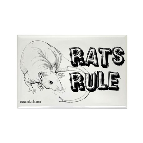 Rats Rule Hairless Rectangle Magnet