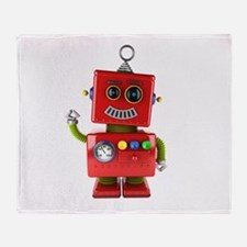 Red toy robot waving hello Throw Blanket