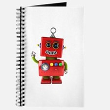 Red toy robot waving hello Journal