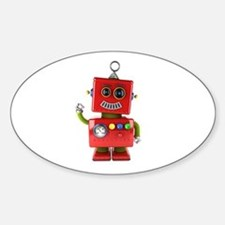 Red toy robot waving hello Decal