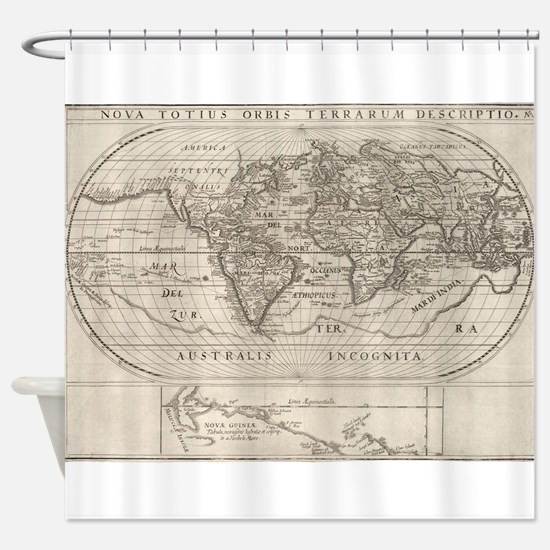 Vintage Map of The World (1621) Shower Curtain
