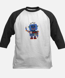 Blue toy robot waving hello Baseball Jersey