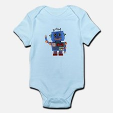 Blue toy robot waving hello Body Suit