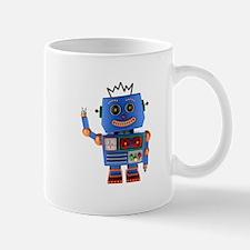 Blue toy robot waving hello Mugs