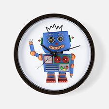 Blue toy robot waving hello Wall Clock