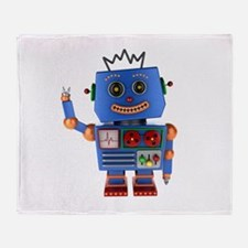 Blue toy robot waving hello Throw Blanket