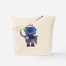 Blue toy robot waving hello Tote Bag