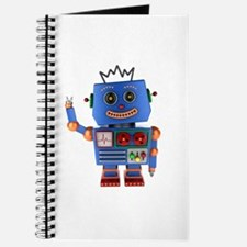 Blue toy robot waving hello Journal