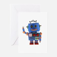 Blue toy robot waving hello Greeting Cards
