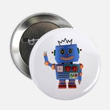 "Blue toy robot waving hello 2.25"" Button"