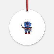 Blue toy robot waving hello Round Ornament