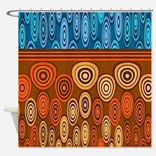 Orange and blue design Shower Curtain