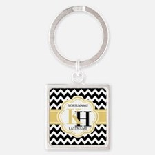 Black and White Chevron with Yello Square Keychain