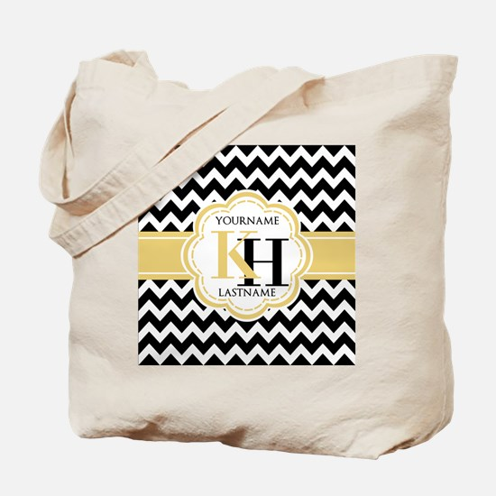 Black and White Chevron with Yellow Monog Tote Bag