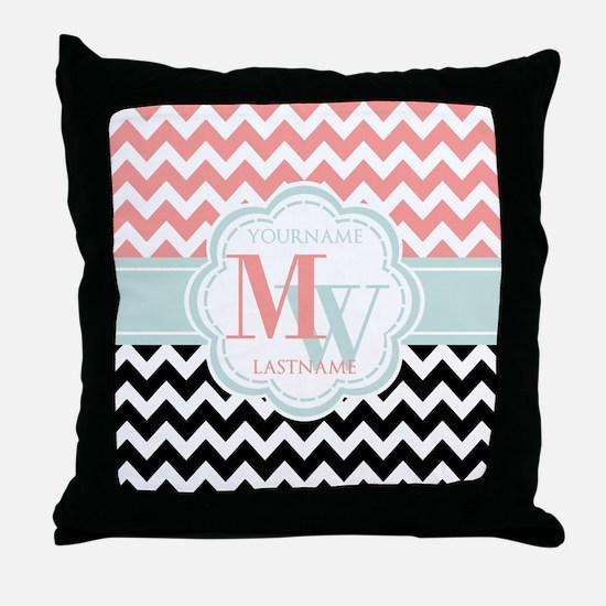 Black & Coral Chevron Monogram Throw Pillow