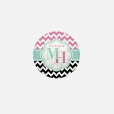 Personalized Monogram Black and Pink Z Mini Button